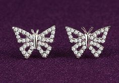 Solid 18K Gold Diamond Pave Butterfly Stud Earrings, Wedding Earrings, Christmas/Anniversary/Birthday/Wedding/Valentine's Day, Gift for Her