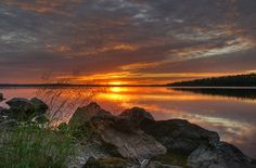Auringonlasku Suomussalmi Kiantajärvi-- Suomussalmi, Finland