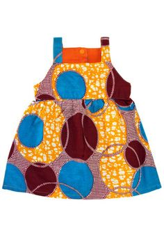 Yellow & Red Circles African Wax print Toddler Sundress – Wild Dill