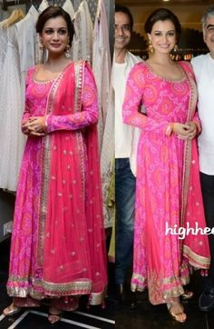 Dia Mirza at http://shop.AnitaDongre.com/ store launch at http://www.dlfEmporio.com/ Vasant Kunj, New Delhi in the designer's beautiful pink Bandhani Anarkali, w/ gold Jhumkis & Sandals, Aug, 14