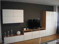 Ikea besta floating cupboards over long low sideboard