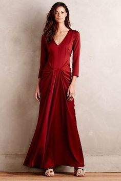 Hoss Intropia Anaya Maxi Dress #anthropologie #red #dress #winter #fashion #long #sleeves