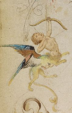 A 'centaur-lion', a detail from a decorated text page, Flemish, 1469.