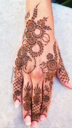 Pretty Henna Designs, Floral Henna Designs, Basic Mehndi Designs, Back Hand Mehndi Designs, Henna Art Designs, Mehndi Designs For Beginners, Mehndi Designs For Girls, Mehndi Designs For Fingers, Dulhan Mehndi Designs