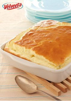 Cheesy Buttery Puff — Move over, potatoes. Six simple ingredients, including VELVEETA, blend and melt and puff up into an airy, delicious side. Be sure and serve it hot.