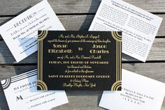deco gold and black wedding stationery Deco Wedding Invitations, Wedding Stationery, Invites, Great Gatsby Prom Theme, Deco Foil, Wedding Dreams, Art Deco Fashion, Our Love, Real Weddings