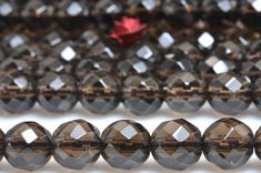 Genuine Gold Plated Smoky Quartz Crystal Necklace Pendant Astrological Handmade Round Shape Design Beads
