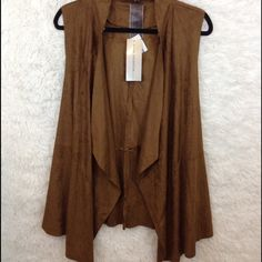 Brown Faux Suede Waterfall Vest NWT NO TRADE ❗️OFFERS ARE WELCOMED ❗️ HAPPY POSHING  Moon Collection Jackets & Coats Vests
