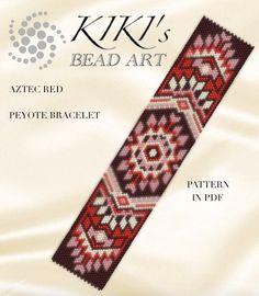 Peyote pattern for bracelet -Aztec red peyote bracelet pattern in PDF - instant download