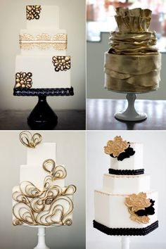 Black and Gold Wedding Cakes>>love the first one