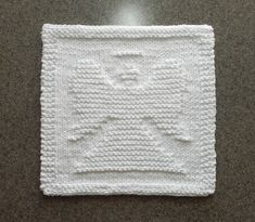 ANGEL Knit Dishcloth or Wash Cloth - Hand Knitted Unique Design - 100% White Cotton - Baby Shower Gift, Baby Wash Cloth,