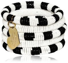 Moschino Cheapchic Black Two Tone Resin Pearls Five Bracelets Set