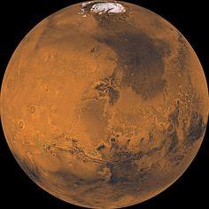 A global mosaic of Mars created using data gathered by NASA's Viking mission.