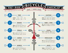 BicyclingHub.com: Your Pre-Ride Bicycle Maintenance Checklist #cycling #bicycle #infographic