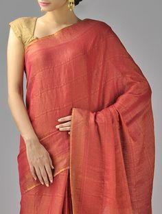Buy Red Rust Golden Zari Cotton Silk Saree Online at Jaypore.com