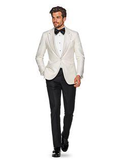 The Off White Plain Dinner Jacket from Suitsupply Groom Tuxedo, Tuxedo For Men, Tuxedo Suit, White Tux Jacket, White Tuxedo Wedding, Smoking, Dinner Jacket, White Suits, Mens Fashion Suits