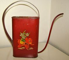 Vintage 1940's Child's Red Watering Can with by scooterbugrevival, $34.00