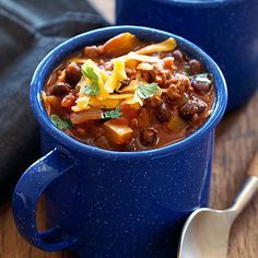 Black Bean Turkey Chili served in a mug (use later for your hot cocoa!)