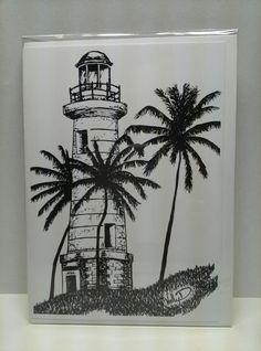 Lighthouse 5x7 greeting card (Galle Sri Lanka lighthouse) #hollyddesigns #srilanka #lighthouse #greetingcard visit facebook.com/hollyddesigns