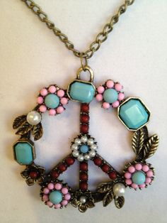 Peace Sign Necklace by joytoyou41 on Etsy, $30.00