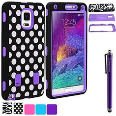 LK Samsung Galaxy Note 4 Case - Deluxe Fashion Polka Print Designer Silicone Impact Hybrid Armor Defender Shockproof Case Combo for Samsung Galaxy Note 4 with Free Stylus (Polka Purple) Lightning Knight http://www.amazon.com/dp/B00PJW6TGI/ref=cm_sw_r_pi_dp_0YIPub12G84Q5