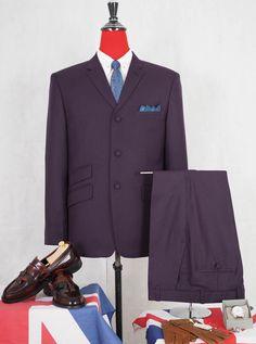 Purple Bespoke 3 Button Mod Suit of Mod Clothing Linen Suits For Men, Beige Suits, Purple Suits, Burgundy Suit, Blue Suit Men, Mens Tweed Suit, Mohair Suit, Grey Check Suit, Mod Jacket