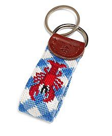 Brooks Brothers Men's Lobster Gingham Needlepoint Key Fob