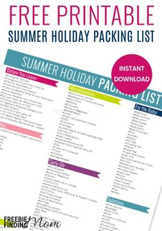 Here's the Summer Holiday Packing List cheat sheet that will help ensure you don't forget anything for your upcoming trip. This extensive summer vacation packing list includes everything from clothes, toiletries, and accessories to tasks to complete befor Summer Vacation Packing, Holiday Packing Lists, Holiday List, Packing List For Travel, Cruise Vacation, Travel Tips, Packing Tips, Travel Chic, Travel Hacks