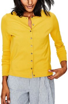 efb8b68864fb Boden Crewneck Cardigan bright yellow perfect for the Miami AC at the  office or the movies
