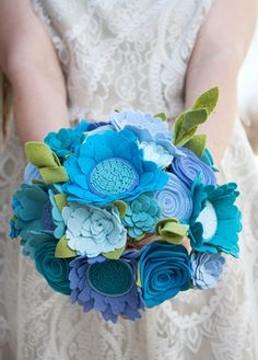 "Felt Bouquet - Wedding Bouquet - Alternative Bouquet - ""Blue Bird"" by SugarSnapBoutique on Etsy https://www.etsy.com/listing/191176499/felt-bouquet-wedding-bouquet-alternative"