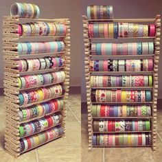 Creative way to save your washi. Creative way to save your washi. This craft uses stacked clothespins that hold wooden sticks to hold up Washi Tape. You can get all the materials everywhere where craft items are sold. Make sure you use wood … Craft Room Storage, Craft Organization, Storage Ideas, Ribbon Organization, Diy Storage, Storage Boxes, Craft Storage Solutions, Paint Storage, Creative Storage