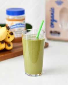 """Even though this """"Banana Rama"""" smoothie contains zucchini and spinach, it has a sweet flavor, thanks to the classic combination of banana, peanut butter, and chocolate. If your kids love Chunky … Healthy Green Smoothies, Green Smoothie Recipes, Fruit Smoothies, Easy Smoothies, Healthy Juices, Healthy Protein, Healthy Meals, Healthy Recipes, Chocolate Banana Smoothie"""