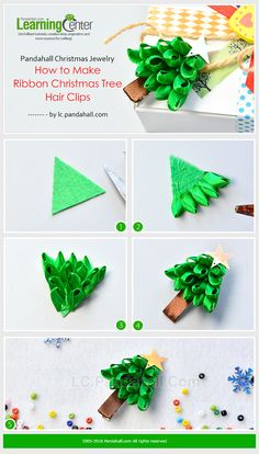 Pandahall Christmas Jewelry - How to Make Ribbon Christmas Tree Hair Clips from . - Jewelry Making Tutorials & Tips 2 - Ribbon Hair Bows, Diy Hair Bows, Diy Ribbon, Ribbon Crafts, Ribbon Flower, Ribbon On Christmas Tree, Christmas Ribbon, Christmas Jewelry, Christmas Crafts