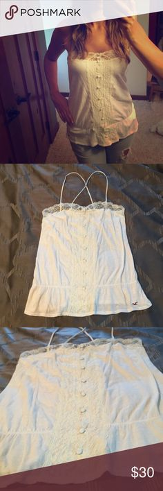 Hollister lace halter tank, medium Worn only a few times, in great shape still. Underarm to underarm is approximately 16 inches. Hollister Tops Tank Tops