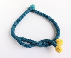 OOAK crochet necklace  turquoise and yellow balls  by beatdesigns