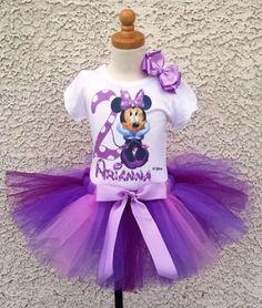 Simple Purple Minnie Mouse Birthday Tutu Outfit