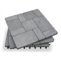 Gray Stone Deck Tiles - Box of 10