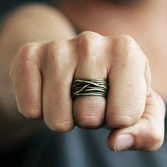 Herren Gold Ring Antik Messing Draht Ringe Mann Schmuck