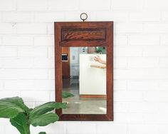 Vintage Wood Panel Mirror  Rustic Wood Mirror by 6thAndDetroit