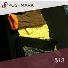 I made my own bundle for you ?? Preloved in very good condition this bundle includes: one pair of brown lined pants,one yellow knitted sweater,one black Hoodia and one denim  jacket. Children's Place Tops Sweatshirts & Hoodies