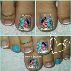 Pretty Toe Nails, Cute Toe Nails, Cute Nail Art, Cute Pedicure Designs, Toenail Art Designs, Colorful Nail Art, Colorful Nail Designs, Feet Nail Design, Cute Pedicures