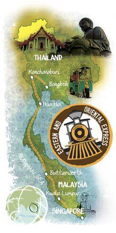 Tarak Parekh - Map of the Eastern and Oriental Express through Singapore, Malaysia and Thailand