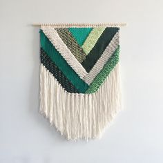 Woven Wall Hanging | Emerald Geometric Weaving by UnrulyEdges on Etsy https://www.etsy.com/listing/286859335/woven-wall-hanging-emerald-geometric
