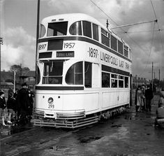 Liverpool 293 decorated for the last tram and seen at Bowring Park on the last day of tram operation. I was standing to the right of the group at the back just out of the picture