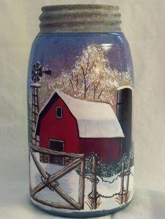 handpainted blue mason jars. $25.00, via Etsy.