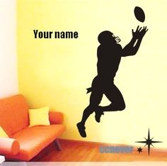 40by22 inches FOOTBALL player Personalized Name----Removable Graphic Art wall decals stickers home decor on Etsy, $27.99