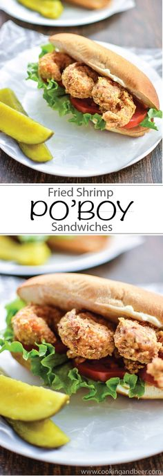 Fried Shrimp Po'Boy Sandwiches | www.cookingandbeer.com