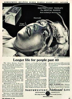"""This drawing shows a 1940 invigorating electrical therapy to cure mental illness and depression . It was captioned as follows: """" Geriatrics: longer for more than 40 years life , """"to praise the practice, which was supposed to care for mature adults, target the most affected by depression. This ad is reminiscent of the movie Requiem for a Dream denouncing this type of treatment completely terrifying time and was considered dangerous because of posterior burns and cardiac arrest caused"""