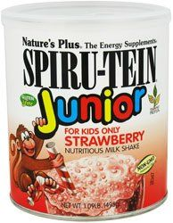 Nature's Plus Kosher Spiru-Tein Junior Children's Nutritious Milk Shake Strawberry Flavor 1 LB. by Nature's Plus. $17.15. Formulated with the delicate needs of a child in mind, SPIRU-TEIN® Junior is a delicious, highly nutritious milk shake. Each rich chocolate or mouth-watering strawberry serving supplies 7 grams of complete protein from soy and spirulina. In addition, just one delicious serving provides 50% of the Daily Values for all vitamins and minerals, high energ...