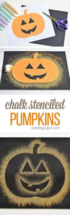 These chalk stenciled pumpkins are so easy and theyre SO MUCH FUN! I love how the chalk on the dark paper makes the whole thing look like its glowing! Such a fun Halloween craft idea! halloween crafts for kids Theme Halloween, Halloween Arts And Crafts, Halloween Projects, Holidays Halloween, Halloween Diy, Halloween Witches, Happy Halloween, Halloween Decorations, Preschool Halloween